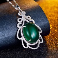 Cheap 925 Sterling Silver Diamond natural chalcedony pendant flower leaves Korean original high-grade silver necklace female factory wholesale