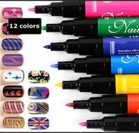 Wholesale 12 Colors nail art pen painting Charm Women s Delicate Pretty Nail Art Pen Polish UV Gel Manicure Tool Promotion NO A piece