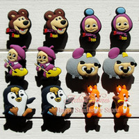 Wholesale 100pcs Masha and the Bear Fashion PVC Shoe Charms Shoe Accessories Shoe Ornaments Fit croc shoe Kids Party Favo Gifts Toys