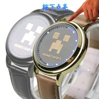 Wholesale Minecraft LED Touch Screen wristwatch mens watches Night Light waterproof Cartoon watches for mens leather luxury watch with Retail Box