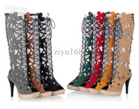 Wholesale 2013 New Wedding Platform High Heel Sandals Women Summer Shoes Hollow Flower Boots Lace Up Sandals Colors