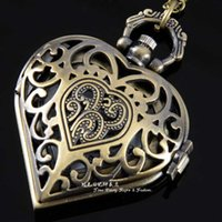antique gold watch chain - Big Size Vine Bronze Love Heart Shape Hollow Out Antique Pocket Watches with long Necklace Chain Classical