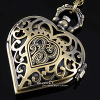 classical pocket watch - Big Size Vintage Bronze Love Heart Shape Hollow Out Antique Pocket Watches with long Necklace Chain Classical