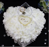 Wholesale 3D Flowers Pearls cm Bridal Ring Pillow Organza Satin Lace Bearer Flower Rose Pillows Bridal Supplies Beaded Wedding Favors Box