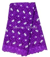gorgeous fabrics - yards SUMMER New Pattern Embroidery Swiss Voile Lace Fabric Gorgeous African French Lace Fabric With PURPLE tulle