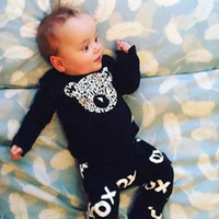 autumn signs - Boy fashion INS panda Suits new children long sleeve T shirt trousers plus sign Suit baby clothes B001