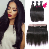 Wholesale Brazilian Virgin Hair With Closure Unprocessed Brazilian Straight Human Hair Weaves With Lace Frontal Bundles Bleached Knots
