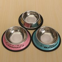 Wholesale 1Pcs Non slip Stainless Steel Pet Dog Bowl Puppy Travel Feeding Water Bowl Dish Round Bowls Color