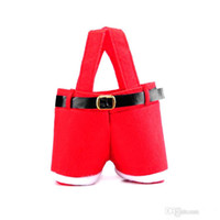Wholesale 2015 New Hot Santa pants style Christmas candy gift bag Xmas Bag Gift