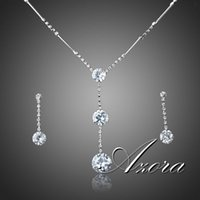 austrian crystal jewelry - AZORA Hot Sale Platinum Plated Stellux Austrian Crystal Water Drop Earrings and Necklace Jewelry Set TG0037