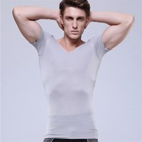 Wholesale Retail sale Functional Moisture wicking men s body shaperV neck Shirt Sexy high tense Underwear Men Slimming firm short sleeves Shirt