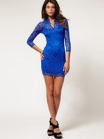 best quality carpeting - Sexy V Neck Sheath Column Short Length Plus Size Royal Blue High Quality French Lace Cocktail Dresses Long Sleeves Best Selling