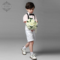Wholesale Boys Formal Wear The June Children s Costumes Dress Chorus Summer Short sleeved Shirt Boy Straps Pants Kids Formal Wear For Weddings