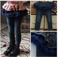 Wholesale autumn Christmas Korean girls Children s panties girl Children s Shorts kid Falbala jeans lace Children s Jeans Kids Clothing drop shipping