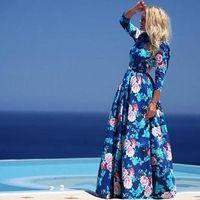 Wholesale Plus Size Long Maxi Dress In the Floor Summer Style Women Dresses Fashion Vintage Blue Casual Print Dress Vestidos Beach