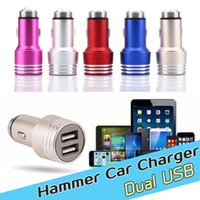 auto cell phone charger - Universal Safty Hammer Auto Metal Dual Port USB Car Chargers V A Mini Car Charger Adapter Emergency Hammer For cell phones