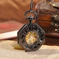 Wholesale Square Design Branded Watches - Steampunk Pocket Watch Men's Watch Luxury Brand 2015 Newest Design Fashion Skeleton Watches Mechanical Hand Wind Pocket Watch