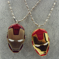 Wholesale Super Hero Pocket Watch Necklace The Avengers Hot Movie Model Iron Man Mask Helmet Pendant Pocket Watch Necklace