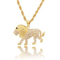 lion head necklace - 100 K Gold Plated Lion Head pendants High Quality Fashion Hiphop franco long necklaces gold Chain for men bijouterie new
