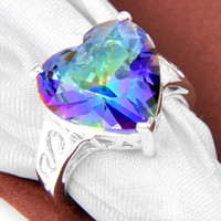 topaz - 3PCS Holiday Jewelry Gift Lovely Heart Rainbow Mystic Topaz Gemstone Sterling Silver Plated Ring R0562