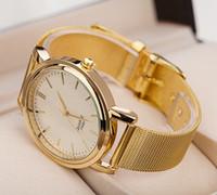 battery grid - 100pcs Fashion Gold Color Grid Alloy Watch Roman Style Ladies Dress Wristwatch Price Quartz Wrap Watch Designs