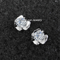 Silver real diamonds - 100 real sterling silver flower stud earrings with swiss cz diamond fashion jewelry perfect wedding gift