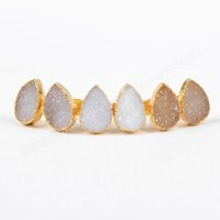 Wholesale Natural Agate Druzy Geode Stud Earrings Gold Platd drop shape G0517