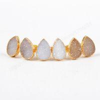 al por mayor naturales geoda-Natural Ágata Druzy Geode Stud Pendientes Oro Platd gota forma G0517