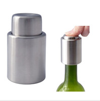 Wholesale In Stock Stainless Steel Push Button Wine Tool Bottle Stopper Vacuum Sealed Christmas gifts