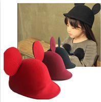 Wholesale 2014 Winter Girl Fashion Cartoon Ear Cap Girl Hats Children Wool Caps Kids Hats F1B079
