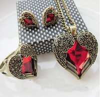 angel stones - Red Angel Wing Manmade Gem Heart Stone Necklace Earring Ring Jewelry Set Gift