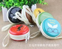 bag moustache - Mini Printed Letter Cake Color Cartoon Moustache Coin Purse Round Personality Zipper Cute Clutch Hard Shell Wallet Headphones Bags