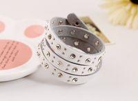other genuine diamond jewelry - European and American exports multy layer fashion jewelry diamond rivets leather bracelet unisex genuine leather bracelet