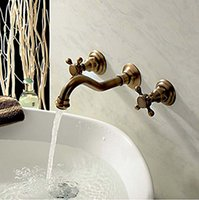 Wholesale Modern Antique Brass Finished Wall Mounted Bathroom Basin Mixer Faucet Dual Handles holes