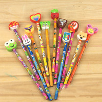 Wholesale Pupil Birthday Gift Ideas Cute Cartoon Pencil With Lovely Eraser SN034