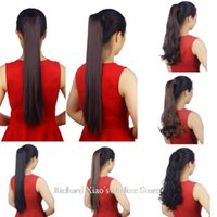 Wholesale 3colors Straight And Curly synthetic hair clip in Hair Extensions Fashion Full With Clips Long
