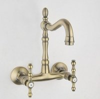 ab antique brass - Wall Mounted Antique Brass Finish Kitchen Sink Bathroom basin Faucet mixer tap AB