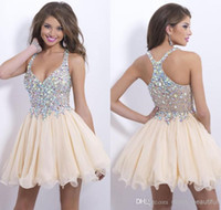 short sparkly prom dresses - 2014 Best selling crystal cocktail dresses sexy halter sparkly beaded backless A Line short prom dress organza homecoming gowns BO9857