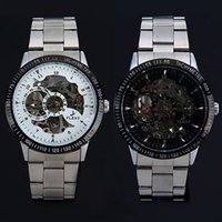 Wholesale Cool Fashion Style Retro famous design style Hollow Mechanical Watch Vine Wheel Gear Watch With Stainless steel Strap