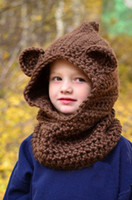 Cheap free shipping,2015 new Girl Chunky Hooded Children Wolf Cowl Hoodie Cowl Kids Winter hat Crochet Cowl Hat Kids Crochet Scoodie Baby Outfits