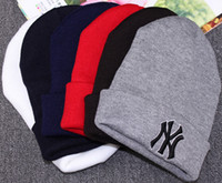 Wholesale 2016 beanies Winter Warm Knitted Hat mens beanies NY Letters Embroidered Beanie For Unisex Fashion Outdoor Caps Like Skiing beanie hats