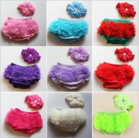 Wholesale Children Summer Clothing Baby Girl Lace Tutu PP Pants Multi colors Cotton Cloth Diaper CoverPP pants Peony Headband Set