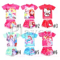 swim shirts - Frozen Child Sets Beachwear Kids Swimwear Girls Swimsuit Children Swimwear Kids Bathing Suits Tee Shirt Swim Trunks Fashion Beach