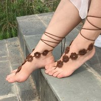 Wholesale 200pairs LJJD3130 Fashion Barefoot Sandals Crochet Ankle Chain Foot Jewelry Anklet Bracelet Ankle Chain Crochet Anklet Bracelet Ankle Chain