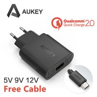 Wholesale Qualcomm Certified Aukey Quick Charge W USB Turbo Wall Charger Fast Charger For Nexus Note Xperia Z3 SAMSUNG S6 Edge