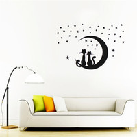 art sat - Black PVC Removable Wall Sticker Home Bedroom Decal stickers Cute DIY Two Cats Sitting on Moon with Stars Wall Stickers Vinyl x cm