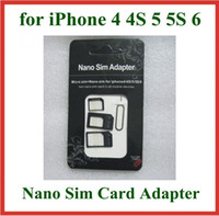 Wholesale 200sets in Nano Sim Card Adapter Micro Sim Adapter with Eject Pin Key for iPhone S iphone iphone s with retail package