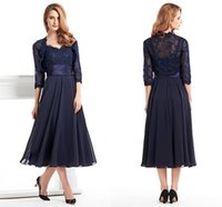 mother of the bride dresses tea length - Ink Blue Tea Length Dresses For Mother Lace Long Sleeve Jecket Chiffon Plus Size Mother of the Bride Dress Party Prom Gowns WWL