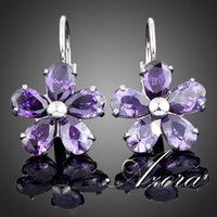 platinum - AZORA Platinum Plated Purple Flower Stellux Austrian Crystal Stud Earrings TE0005