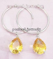 Cheap Citrine drop earring Natural rea citrine earring 925 silver plated 18k white gold earring Free shipping Perfect Jewelry#DH-14101720